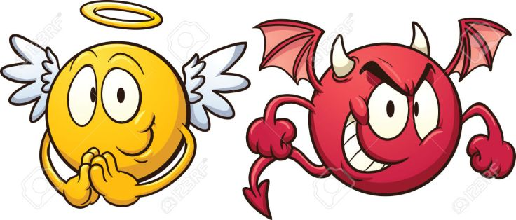 23013761-Angel-and-devil-emoticons-Stock-Vector-cartoon